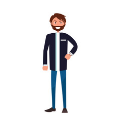 bearded man in jacket and blue jeans stand smiling vector image