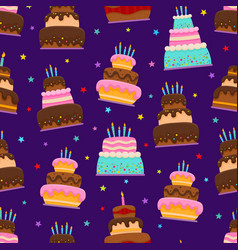Birthday party cartoon seamless pattern isolated vector
