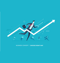 businessman runs forward to success growth charts vector image