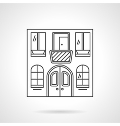 Cafe building flat line icon vector