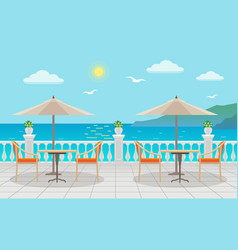 Cafe with tables under umbrellas with sea views on vector