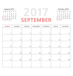 Calendar planner 2017 september week starts vector
