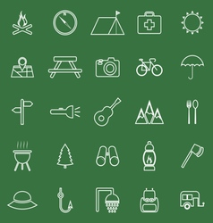 Camping line icons on green background vector