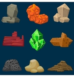 cartoon mineral stones set vector image