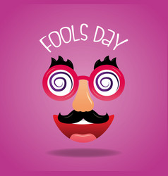 Cheerful mask mustache silly glasses fools day vector