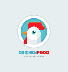 chicken food - rooster logo concept vector image