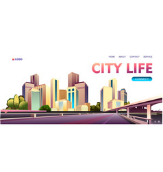 City buildings landscape concept banner vector