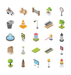 city elements isometric icons vector image
