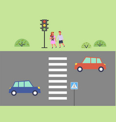 city street and road children get ready to cross vector image