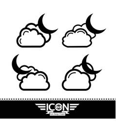 cloud moon icon vector image