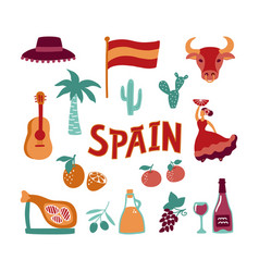 collection hand drawn symbols spain culture vector image