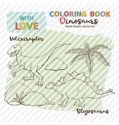coloring book dinosaurs velociraptor and vector image
