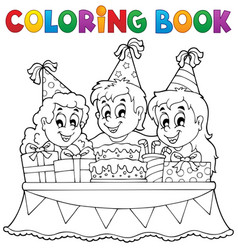 Coloring book kids party theme 1 vector