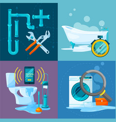 conceptual pictures set of plumbing works vector image