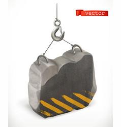 concrete block under construction 3d icon vector image