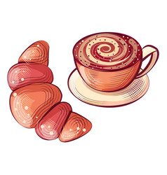 Croissant and cup hot coffee beverage in mug vector