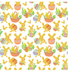 cute easter seamless pattern of rabbit with eggs vector image