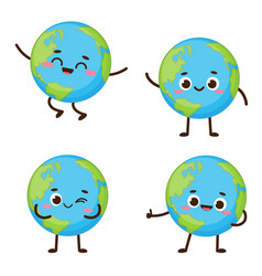 Cute planet earth character set vector