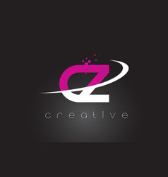 cz c z creative letters design with white pink vector image