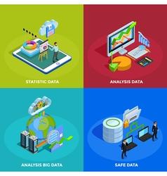 Data Analysis 4 Isometric Icons Square vector image
