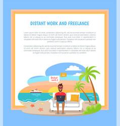 Distant work freelance poster freelancer worker vector