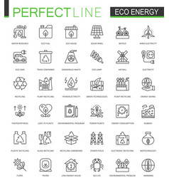 Eco energy thin line web icons set renewable vector
