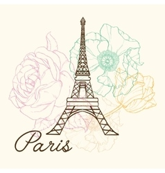 Eifel Tower Paris In Vintage Style With vector