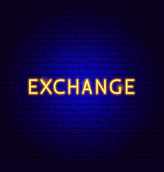 Exchange neon text vector