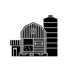 farm black icon concept farm sign symbo vector image