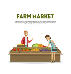 Farm market cheerful male farmer selling vector