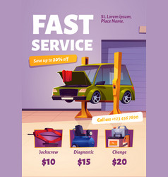 fast car service poster auto maintenance flyer vector image