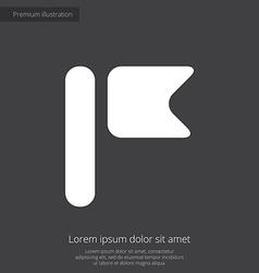 Flag premium icon white on dark background vector