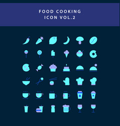 food cooking icon set flat style design set vol 2 vector image