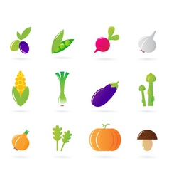 fresh vegetable isolate icons vector image