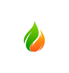 Green fire logo icon design vector