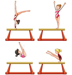 Gymnastics players on balance beam vector