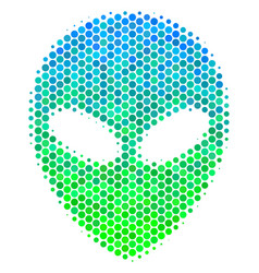 Halftone blue-green alien face icon vector