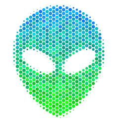 halftone blue-green alien face icon vector image