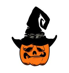 halloween pumpkin in witch hat design element vector image