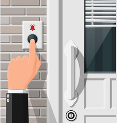 Hand push bell button at front door vector