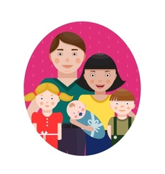 Happy Family Parents with Three Children Portrait vector image