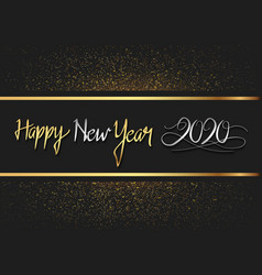 Happy new year 2020 silver and gold number vector