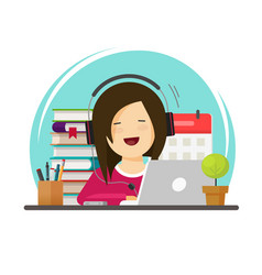 happy person studying or working on desk vector image
