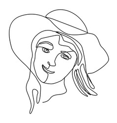 happy woman in hat laughing one line art portrait vector image