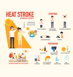 heat stroke risk sign and symptom and prevention vector image