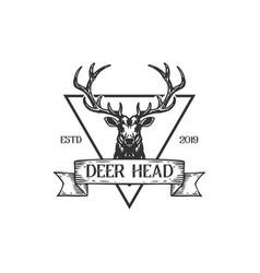 hunting vintage retro hand drawn sketch deer head vector image