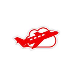 Icon sticker realistic design on paper airplane vector