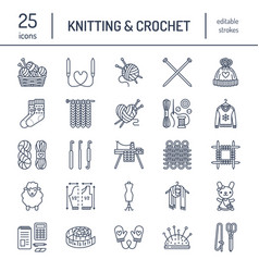 Knitting crochet hand made line icons set vector