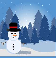 landscape with snow in winter with snowman and vector image