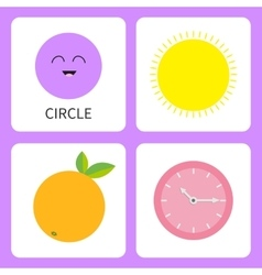 Learning circle round form shape Smiling face vector